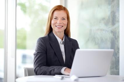 woman suit laptop