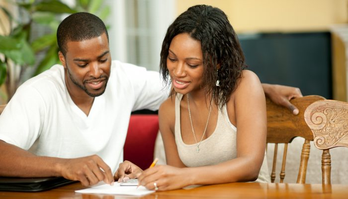 Couple doing their finances together.