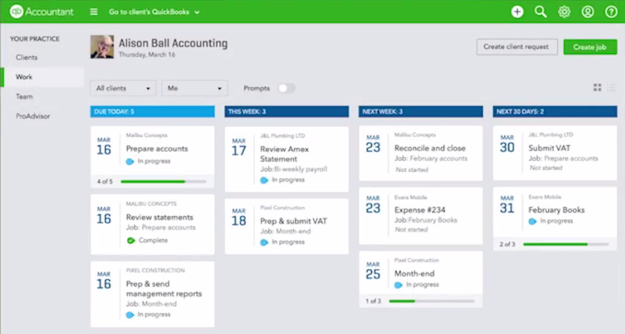QuickBooks Online Accountant: Practice management