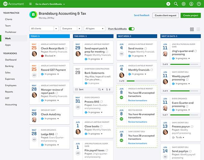 QBOA Practice Management work tab